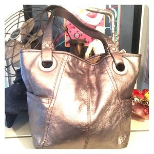 Fossil Silver Leather Tote